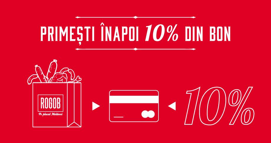 Primeşti înapoi 10% din valoarea bonului de cumpărături